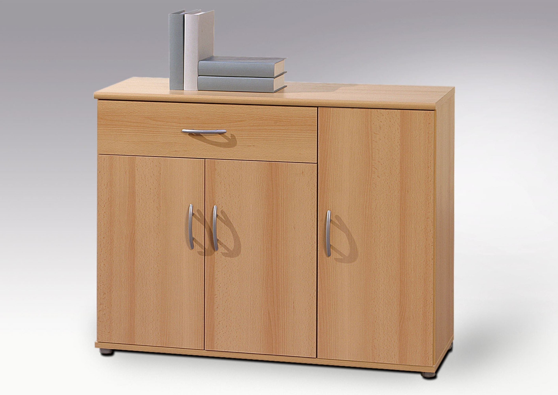 Kommode Schrank Buche 3 Turen 1 Schublade Sideboard Anrichte 90cm Ebay