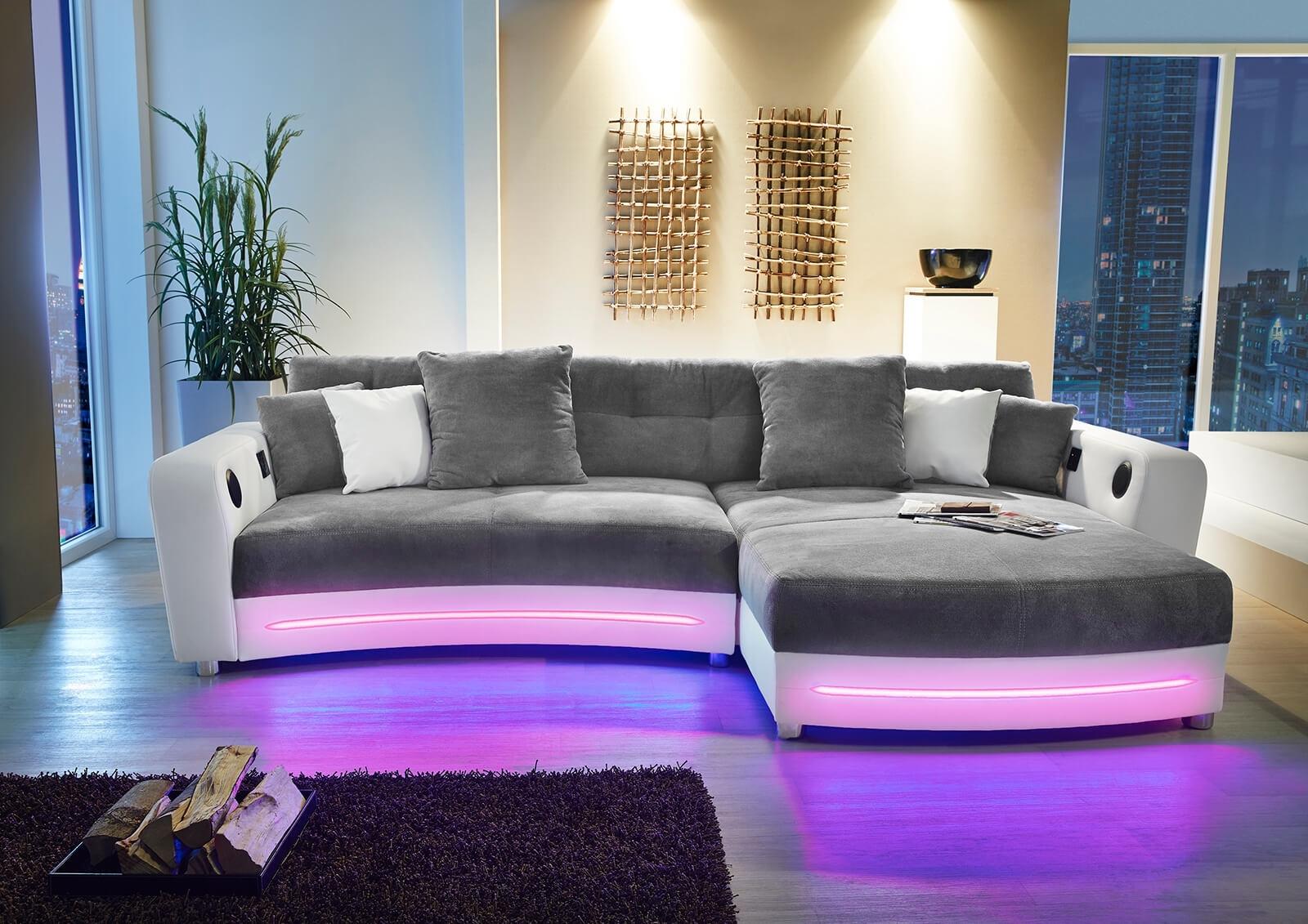 Sofa Couch Ecksofa grau / weiß mit RGB LED-Beleuchtung | eBay